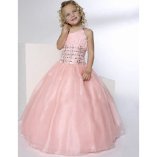 Luxury Beaded Rhinestone Ball Gown One Shoulder Full Length Formal Girls Party Dresses