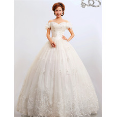 Custom Off-the-shoulder Ball Gown Floor Length Organza Wedding Dresses