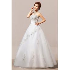 Modest Beaded Ball Gown Strapless Floor Length Satin Organza Wedding Dresses