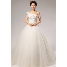 Trendy One Shoulder Applique Ball Gown Floor Length Satin Organza Wedding Dresses