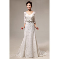 Elegant  A-Line Court Train Lace Wedding Dresses with Long Sleeves/ Tailored Round Neck Summer Bride Gowns with Rhinestone