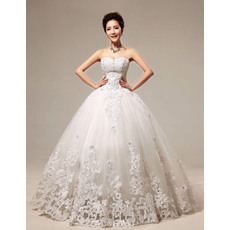 Discount Embroidery Ball Gown Floor Length Organza Satin Wedding Dresses