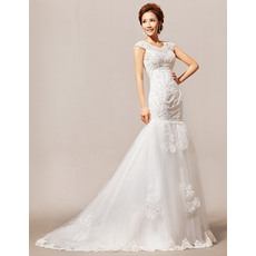 Hot Mermaid/ Trumpet Beaded Floor Length Satin Organza Wedding Dresses