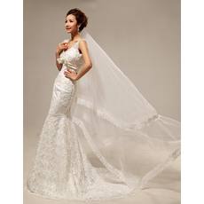 Sexy Mermaid/ Trumpet Lace Satin V-Neck Floor Length Foraml Wedding Dresses