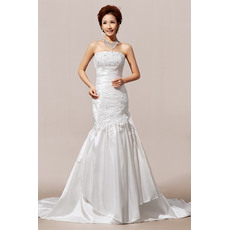 Morden Mermaid/ Trumpet Floor Length Strapless Satin Wedding Dresses