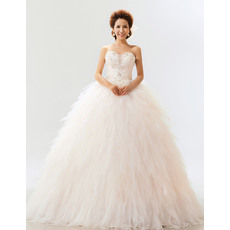 Modest Ruffle Satin Organza Sweetheart Ball Gown Long Dresses for Spring Wedding