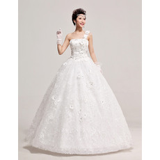 Beautiful One Shoulder Satin Organza Ball Gown Floor Length Wedding Dresses