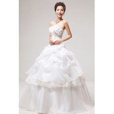 Discount Applique Ball Gown Strapless Floor Length Organza Satin Wedding Dresses
