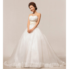 Fabulous Custom Sweetheart Floor Length Beaded Ball Gown Satin Organza Wedding Dresses