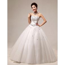 Charming Rhinestone Ball Gown Sweetheart Floor Length Satin Organza Dresses for Spring Wedding