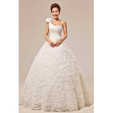 Affordable One Shoulder Floral Ball Gown Floor Length Satin Wedding Dresses