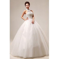 Excellent Halter Beaded Ball Gown Floor Length Satin Wedding Dresses