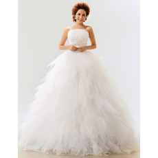 Gorgeous Ruffle Satin Organza Ball Gown Strapless Floor Length Wedding Dresses