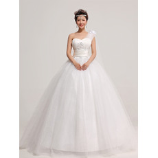 Popular Satin Organza One Shoulder Ball Gown Floor Length Dresses for Spring Wedding