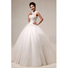 Attractive Mandarin Collar Beaded Ball Gown Floor Length Satin Organza Wedding Dresses