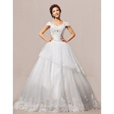 Fabulous Off-the-shoulder Ball Gown Floor Length Satin Organza Wedding Dresses