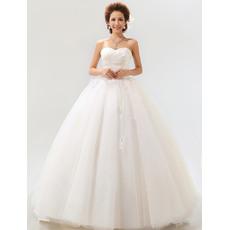 Pretty Ball Gown Sweetheart Floor Length Satin Dresses for Spring Wedding