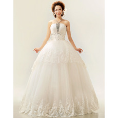 Elegant Ball Gown Strapless Floor Length Satin Organza Wedding Dresses for Spring