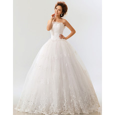 Beautiful Applique Ball Gown Strapless Floor Length Organza Wedding Dresses