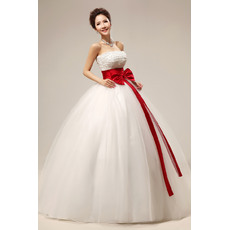 Elegant Beaded Ball Gown Strapless Floor Length Organza Satin Wedding Dresses with Sashes