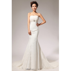 Custom Mermaid/ Trumpet Floor Lengt Strapless Lace Satin Wedding Dresses