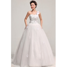 Charming One Shoulder Ball Gown Floor Length Satin Dresses for Spring Wedding