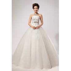 Elegant Rhinestone Ball Gown Strapless Floor Length Satin Organza Wedding Dresses