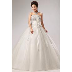 Custom Ball Gown Strapless Floor Length Organza Taffeta Wedding Dresses with Sashes