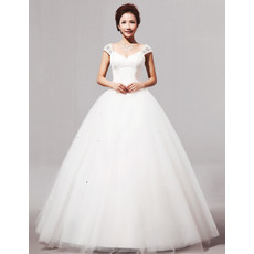 Elegant V-Neck Cap Sleeves Ball Gown Long Satin Dresses for Spring Wedding