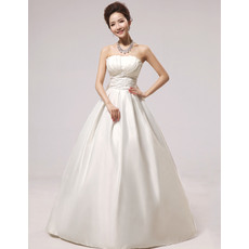 Affordable Simple A-Line Strapless Floor Length Satin Wedding Dresses