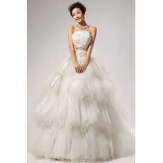 Amazing Tiered Satin Organza A-Line Strapless Floor Length Wedding Dresses