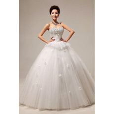 Attractive Beaded Sweetheart Ball Gown Floor Length Satin Organza Dresses for Spring Wedding