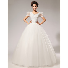 Elegant Bubble Sleeves V-Neck Beaded Ball Gown Floor Length Satin Organza Wedding Dresses