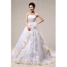 Discount A-Line Strapless Floor Length Embroidery Satin Organza Wedding Dresses