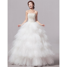 Custom Bubble Skirt Satin Organza Strapless Floor Length Wedding Dresses