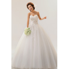 Excellent A-Line Sweetheart Long Applique Satin Organza Dresses for Spring Wedding