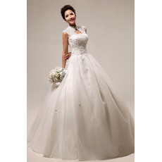 Elegant Mandarin Collar Lace A-Line Floor Length Satin Organza Wedding Dresses