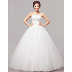 Concise Ball Gown Strapless Floor Length Satin Organza Wedding Dresses