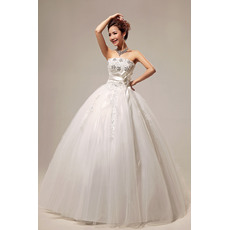 Gorgeous Ball Gown Strapless Floor Length Beaded Satin Organza Wedding Dresses