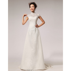 Discount Satin Lace Mandarin Collar Cap Sleeves A-Line Floor Length Wedding Dresses