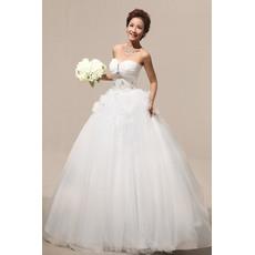 Excellent Ball Gown Sweetheart Floor Length Satin Organza Wedding Dresses