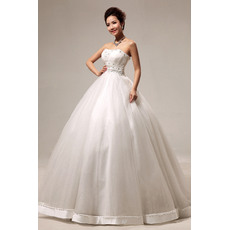 Inexpensive Ball Gown Strapless Floor Length Satin Organza Beaded Wedding Dresses