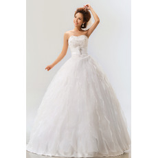 Attractive Tiered Skirt Satin Organza Ball Gown Strapless Floor Length Dresses for Spring Wedding