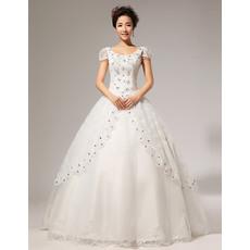Affordable Cap Sleeves Ball Gown Scoop Floor Length Satin Organza Wedding Dresses