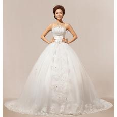 Gorgeous Floor Length Ball Gown Strapless Satin Organza Wedding Dresses