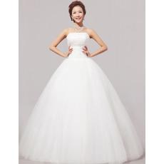 Elegant Ball Gown Strapless Floor Length Satin Organza Dresses for Spring Wedding
