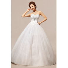 Inexpensive Ball Gown Sweetheart Floor Length Satin Organza Wedding Dresses
