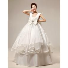 Empire V-Neck Floor Length Satin Ball Gown Wedding Dresses