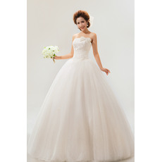 Fabulous Strapless Floor Length Satin Organza Ball Gown Dresses for Spring Wedding