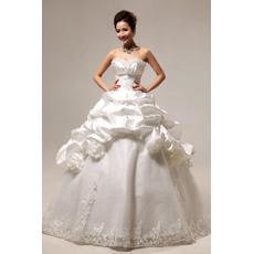 Delicate Pick-Up Skirt Ball Gown Sweetheart Floor Length Organza Taffeta Wedding Dresses